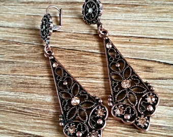 Vintage Style Antiqued Copper  Dangle Earrings with Crystal Embellishments