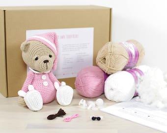CROCHET KIT: Sleepy teddy bear - Pink