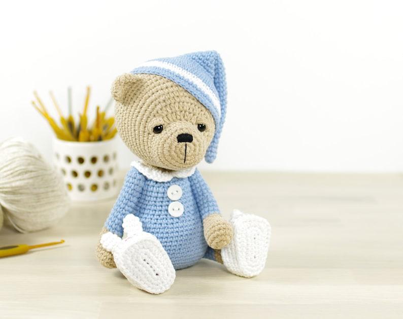 PATTERN  Sleepy Teddy Bear in Pajamas and Bunny Slippers 4  444680f80