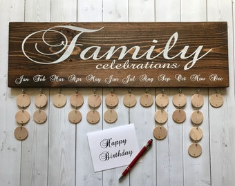 Family Celebrations Board with Natural Discs - Birthday Calendar - FC001N