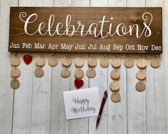 Family Celebrations Board with Natural Discs - Family Birthdays Board - Birthday Calendar - Family Calendar - Birthday Reminder - CB002N