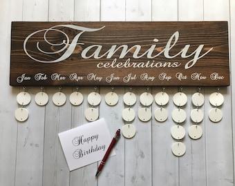 Handmade Family Birthday Board - Family Celebrations Board - Family Birthday Calendar - Celebration Board - Wall Hanging - FC001W - FB001W