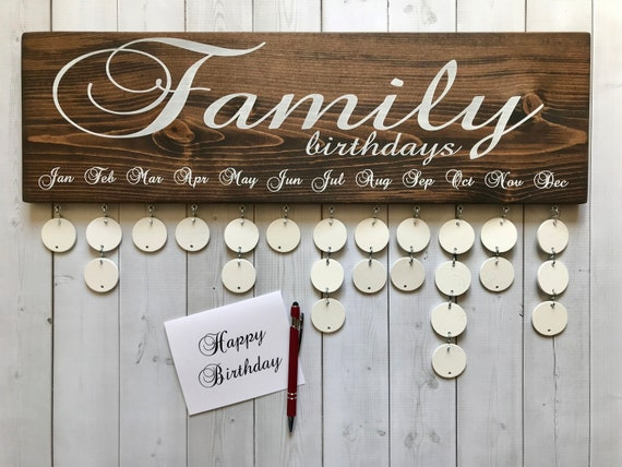 Family Birthdays Board Birthday Calendar Wall Hanging Etsy