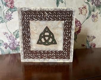 Triquetra and Celtic Knotwork carving / shelf sitter/ Irish Decor / Celtic Decor