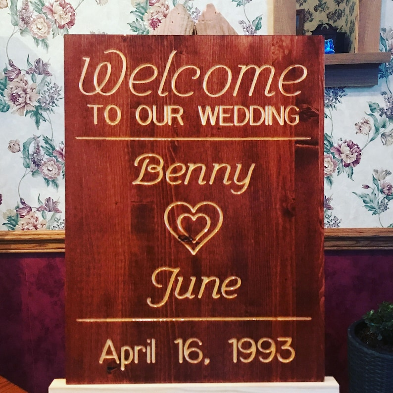 Welcome to our wedding sign personalized image 0