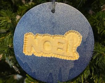 NOEL carved wood Christmas tree ornament in blue metallic