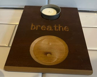 Breathe tea light candle holder with 3D yin yang carving in cedar wood