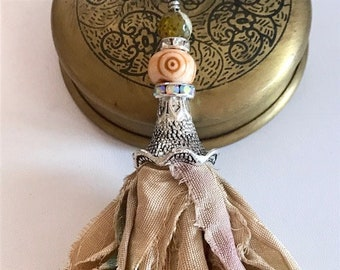 Silk Sari Tassel Necklace-Antique Linen Tassel-Boho Tassel Jewelry