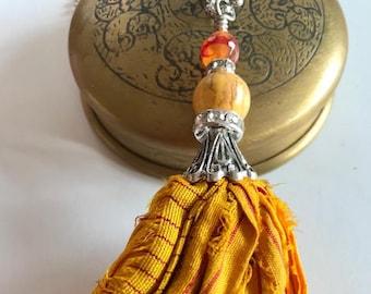 Sari Silk Tassel Necklace-Golden Mustard Tassel-Boho Tassel Jewelry