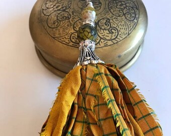 Sari Silk Tassel Necklace-Mustard Tassel-Boho Tassel Jewelry