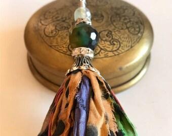 Silk Sari Tassel Necklace-Jewel Tones With Dots Tassel-Boho Tassel Jewelry