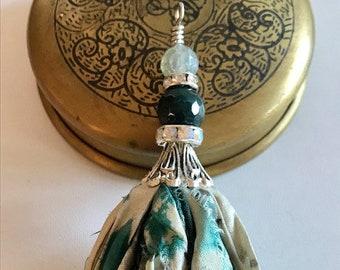 Sari Silk Tassel Necklace-Teal & Gray Tye Dye-Boho Tassel Jewelry
