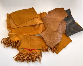 Multi Leather Remnants - Scrap Leather Pieces - Leather Craft Lot