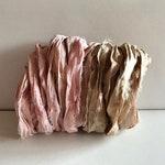Recycled Sari Silk Ribbon - Sari Silk Ribbon - Dusty Rose & Light Mushroom Gray, 5 Yds Each, 10 Yds Total