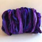 Silk Sari Ribbon - Recycled Sari Silk Ribbon - Purple Mix, 10 Yards