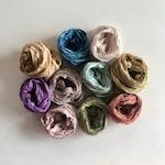 20 Yards Sari Silk Ribbon - Recycled Multi Sari Silk Ribbon - 10 Color Sampler, Dusty Colors, 2 Yards Each