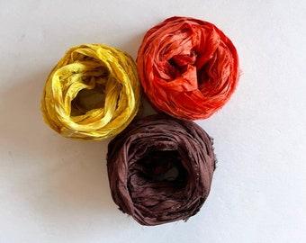 Sari Silk Ribbon - Recycled Silk Sari Ribbon - Goldenrod, Orange & Brown, 5 Yds Each, 15 Yds Total