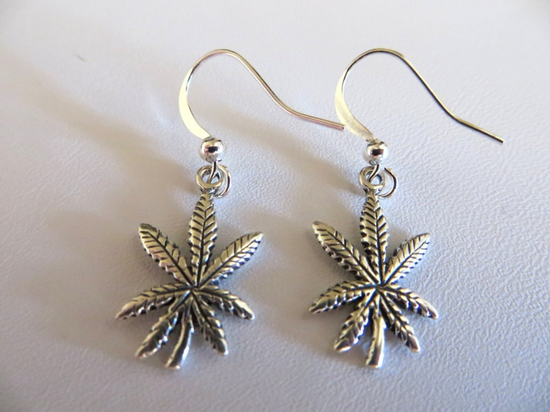 Cannabis Leaf Earrings  Stoner Girl  Sterling Silver image 0