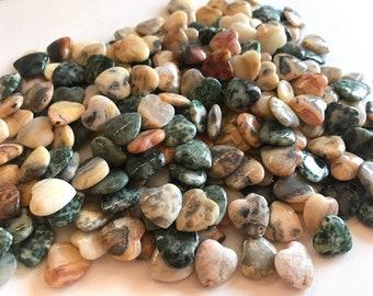 "1/2"" Jasper Stone Mini Hearts - Jasper Gemstone Hearts - 10 Jasper Polychrome Crystal Hearts"