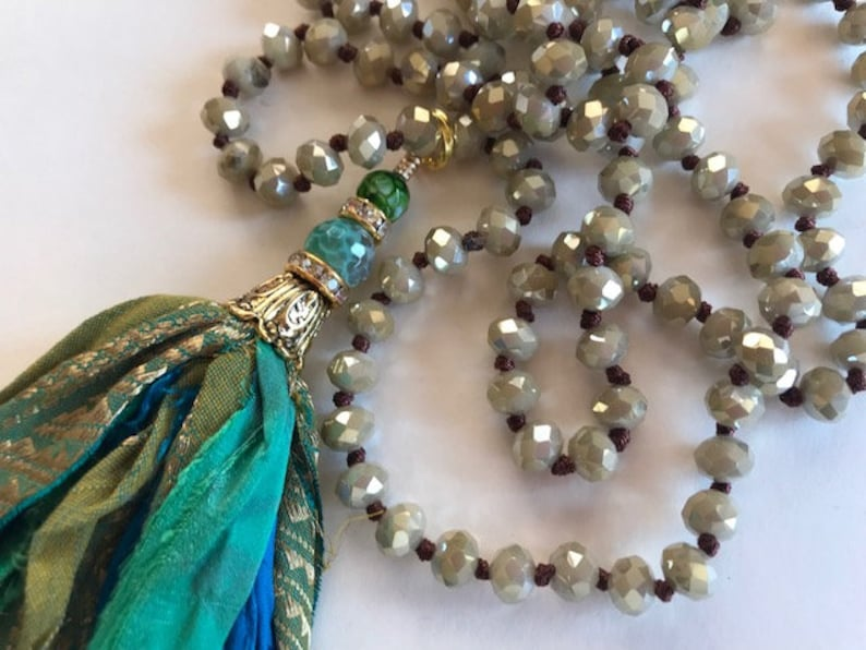 Turquoise Border Silk Tassel Necklace  Hand Knotted Sari image 0