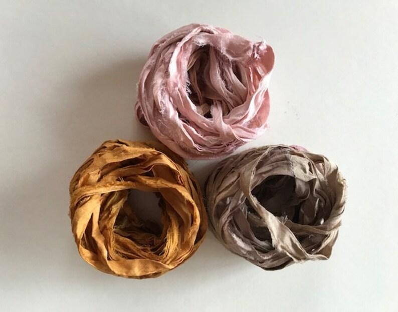 Recycled Sari Silk Ribbon  Sari Silk Ribbon  Rose Mushroom image 0