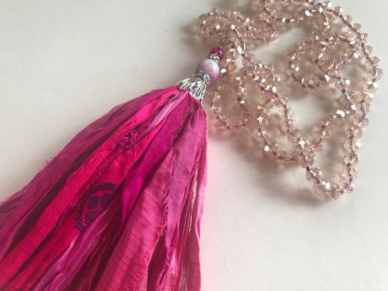 Long Pink Sari Silk Tassel Necklace  Hand Knotted Sari Tassel image 0
