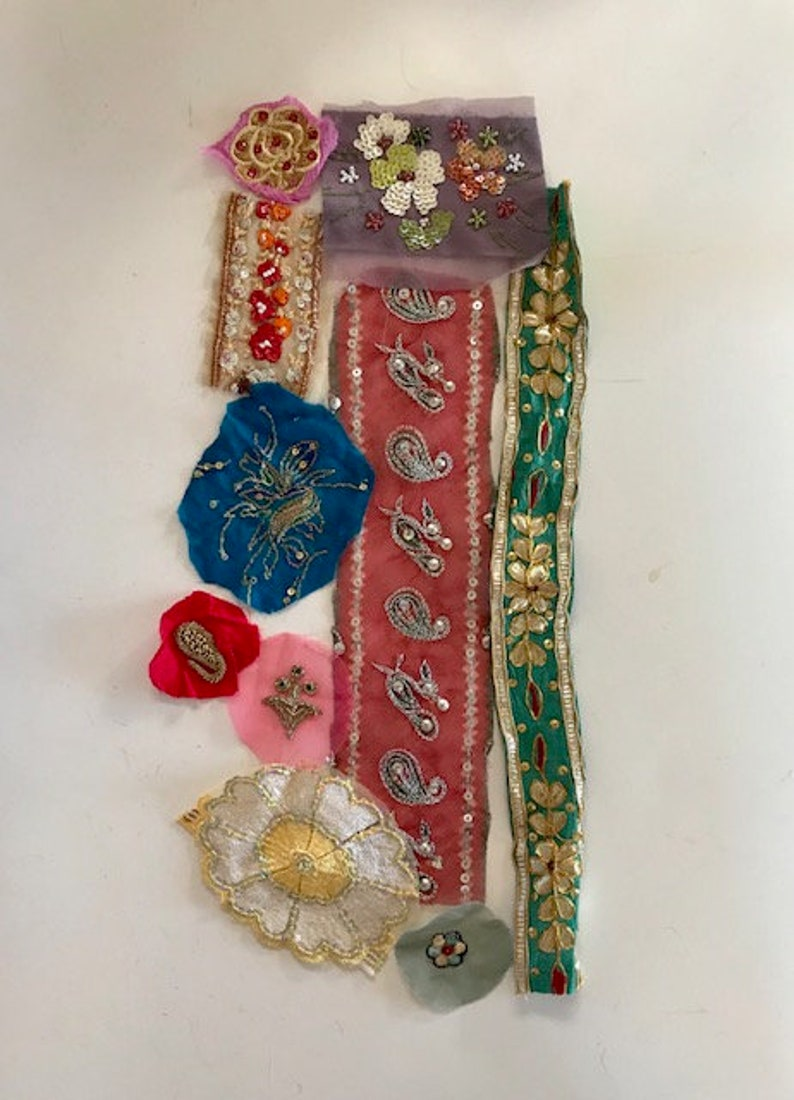 Sequined & Embroidered Appliques  Recycled Sari Silk image 0