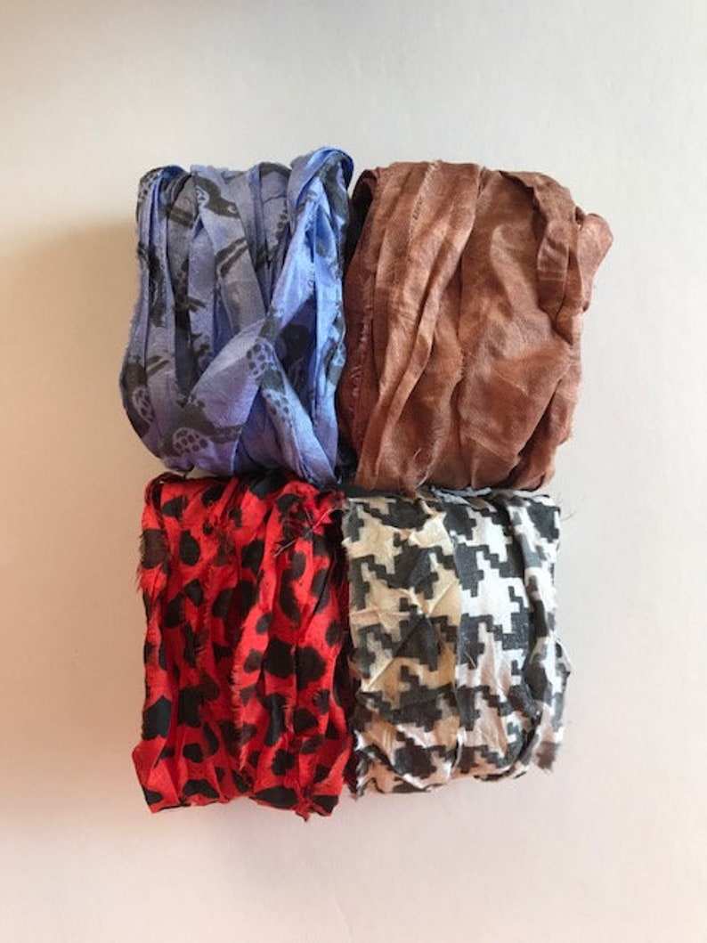 20 Yards Printed Sari Silk Ribbon  Recycled Sari Silk Ribbon image 0