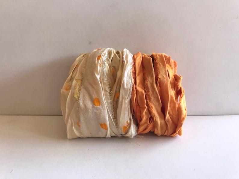 Sari Silk Ribbon Yardage  Recycled Sari Silk Ribbon  Cream image 0