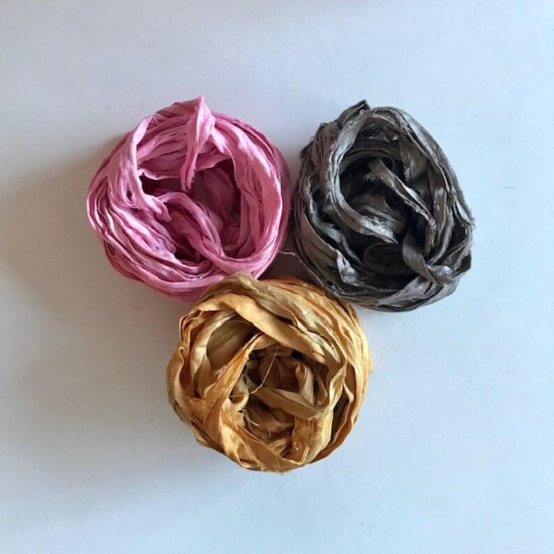 Recycled Sari Silk Ribbon  Sari Silk Ribbon  Pink Mushroom image 0