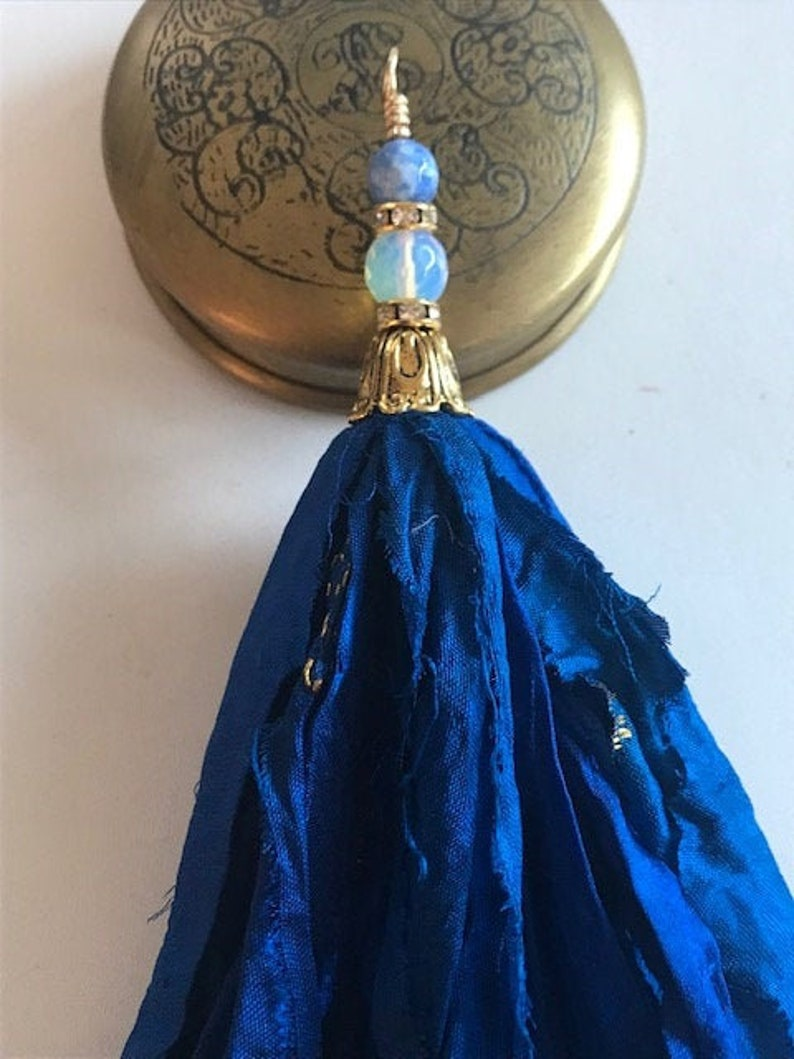 Silk Sari Tassel Necklace  Royal Blue With Gold Embroidery image 0