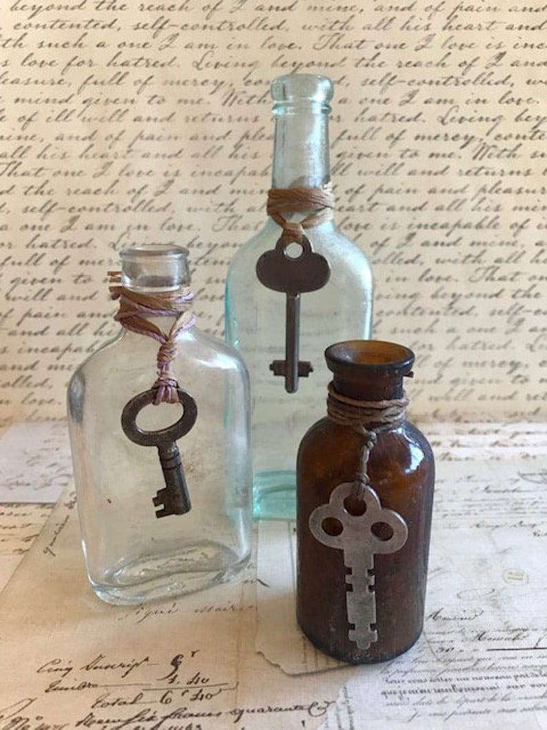 Three Antique Bottles With Skeleton Keys  Old Salvaged image 0