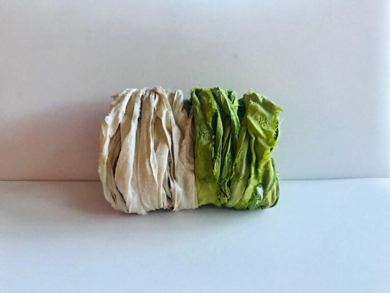 Sari Silk Ribbon  Recycled Sari Ribbon Scraps  Lime & White image 0