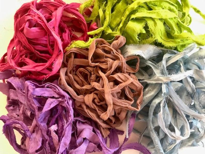 Sari Silk Ribbon  Recycled Silk Sari Ribbon  Multi Colored image 0