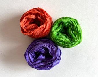 15 Yds Recycled Sari Silk Ribbon - Sari Silk Ribbon Yardage - Orange, Lime Green & Purple, 5 Yds Each, Sari Silk Fiber
