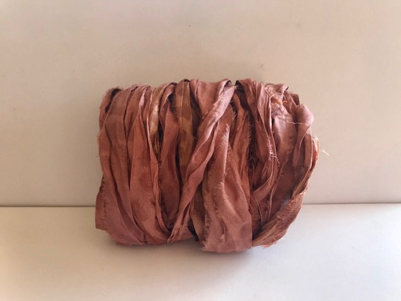 Recycled Sari Silk Ribbon  Sari Silk Ribbon  Light Brown image 0
