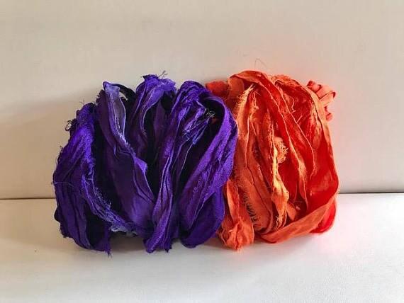 Ruban de Sari - Sari recyclé de ruban de soie en soie - 5 Yards chacun, au Total 10 verges