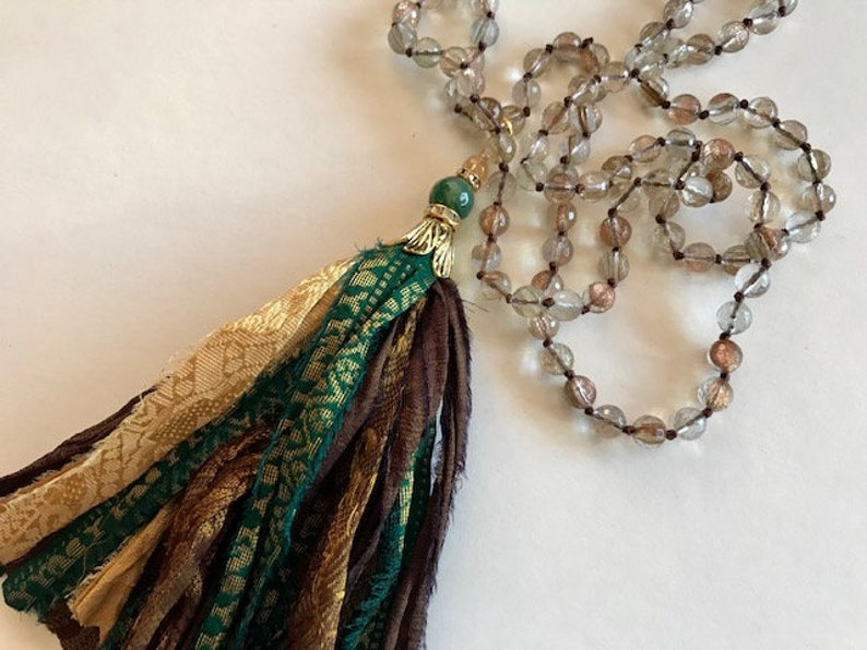 Border Silk Tassel Necklace  Hand Knotted Brown Teal Gold image 0