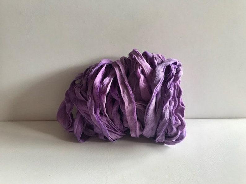 10 Yards Chiffon Sari Silk  Recycled Sari Silk Ribbon  image 0