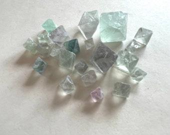 Fluorite Octahedron Lot - Natural Rainbow Fluorite Octahedron - Healing Crystals