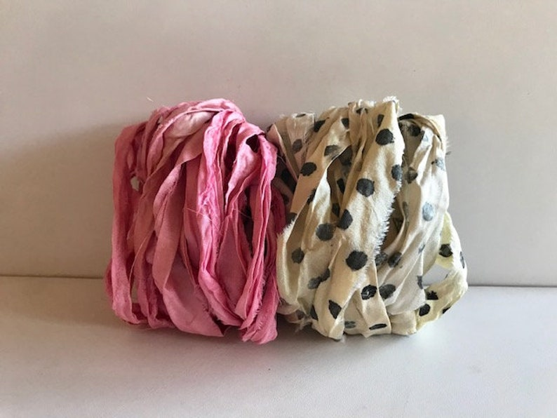10 Yards Sari Silk Ribbon  Recycled Silk  Sari Ribbon  Pink image 0