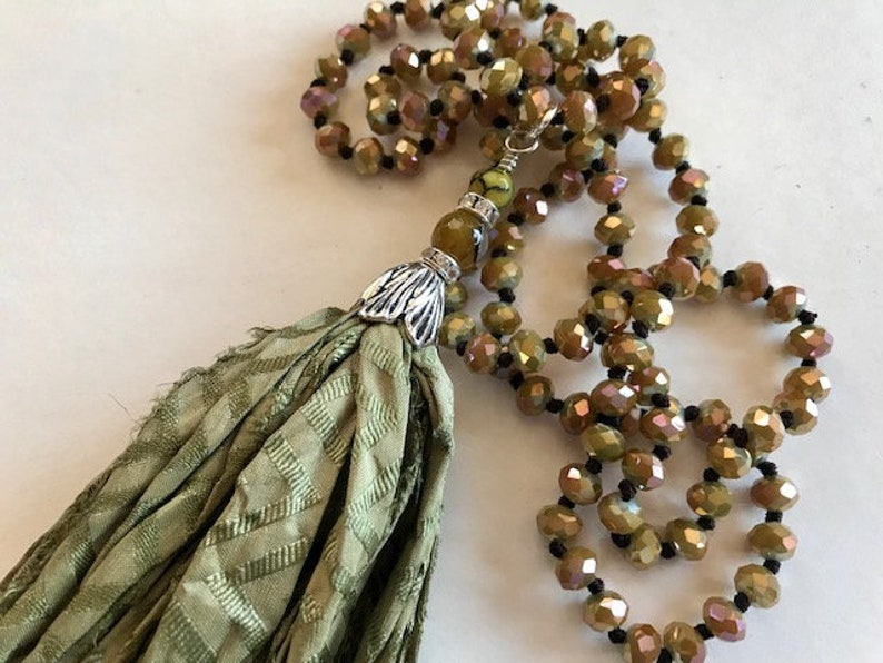 Sage Green Sari Silk Tassel Necklace  Long Hand Knotted Sari image 0