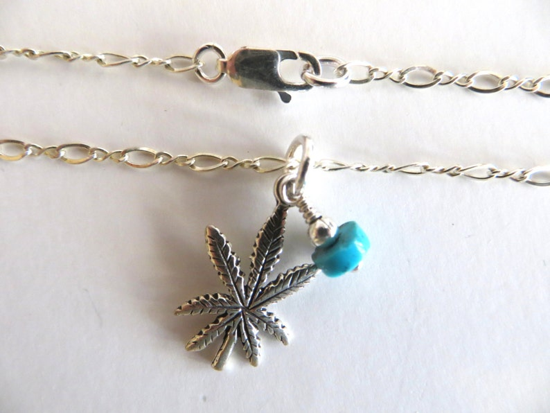 Cannabis Leaf Necklace  Sterling Silver Leaf Necklace With image 0