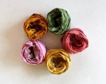 5 Color Sari Silk Sampler - Recycled Silk Sari Ribbon - 5 Multi Colors, 2 Yds Each, 10 Yds Total Journaling Ribbon