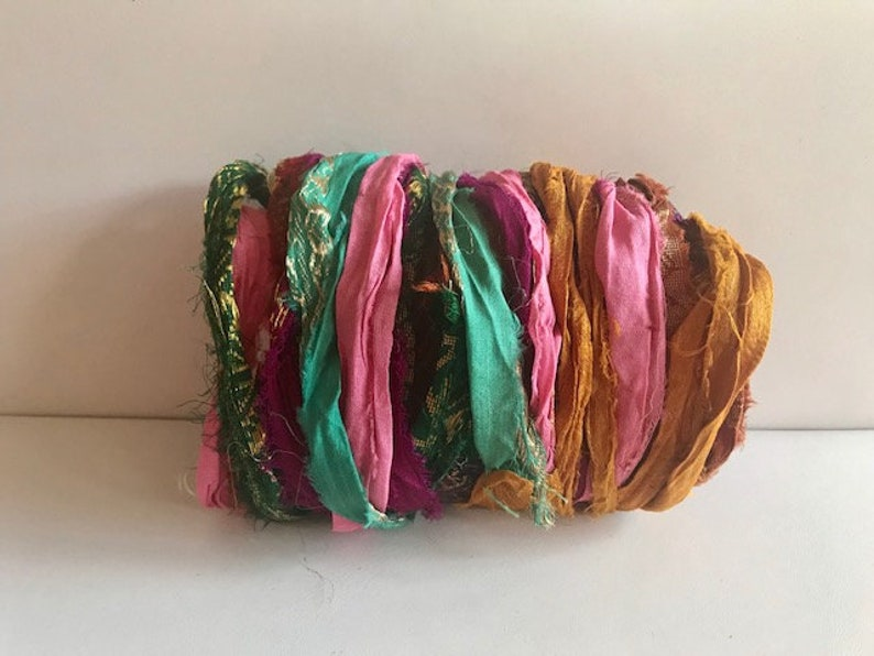 Lurex Silk Sari Ribbon  Recycled Sari Silk Ribbon  Metallic image 0