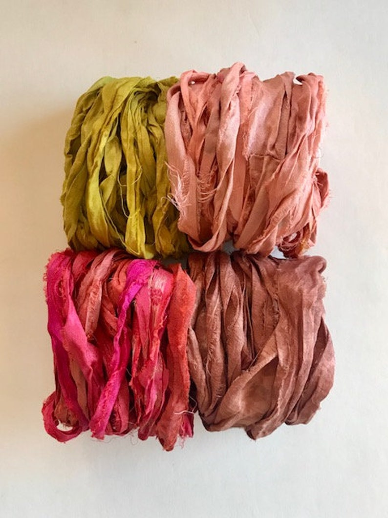 20 Yards Sari Silk Ribbon  Recycled Sari Silk Ribbon  Four image 0