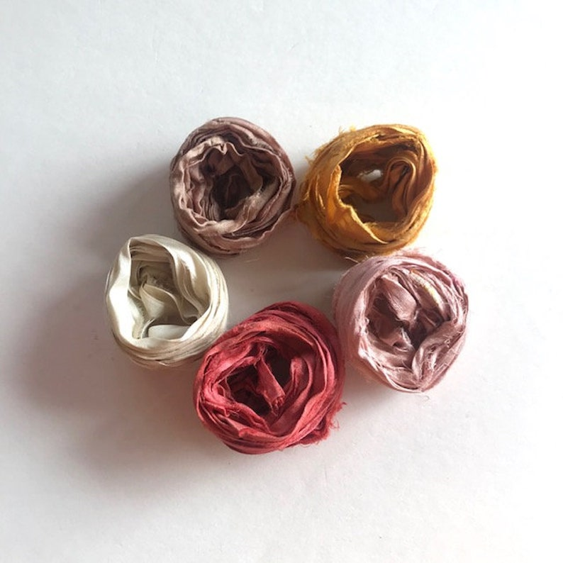 5 Color Sari Silk Sampler  Recycled Silk Sari Ribbon  5 image 0