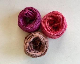 Sari Silk Ribbon - Recycled Silk Sari Ribbon - Magenta, Salmon & Mauve, 5 Yds Each, 15 Yds Total