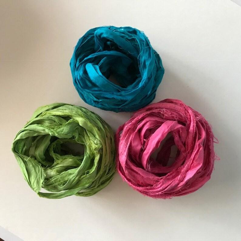 Sari Silk Ribbon  Recycled Sari Silk Ribbon  Leaf Ocean & image 0