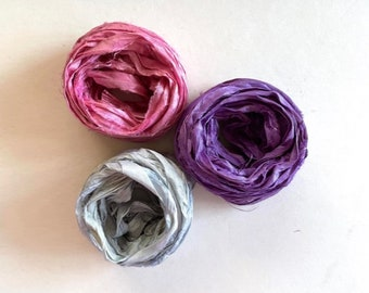 Recycled Sari Silk Ribbon - Pink, Orchid, Blue Gray Ribbon - 5 Yds Each, 15 Yds Total